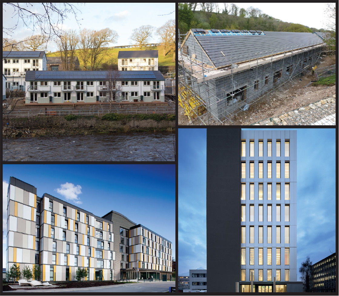 (clockwise from top left) While the likes of Lancaster Cohousing prove that traditional cavity wall construction can be used on substantial passive house projects; ground-breaking off-site build methods such as the timber structure for the eight storey certified passive Life Cycle Tower 1 office building in Austria may help to deliver substantial buildings at scale in the midst of a skills shortage