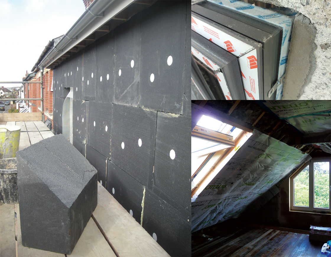 (clockwise from top) Genuinely deep retrofit measures including external insulation to AECB CEO Andy Simmonds' Grove Cottage; retrofitting of Munster Joinery passive windows at a Simon Mc- Guinness upgrade in Salthill, Co. Galway; and an Attic upgrade at Tina Holt's retrofit in Nottingham