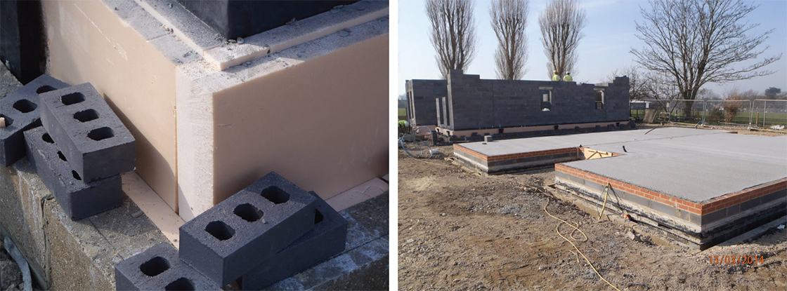 The ground floor consists of beam and block construction with 250mm Kingspan Kooltherm K3 insulation, and a concrete slab over