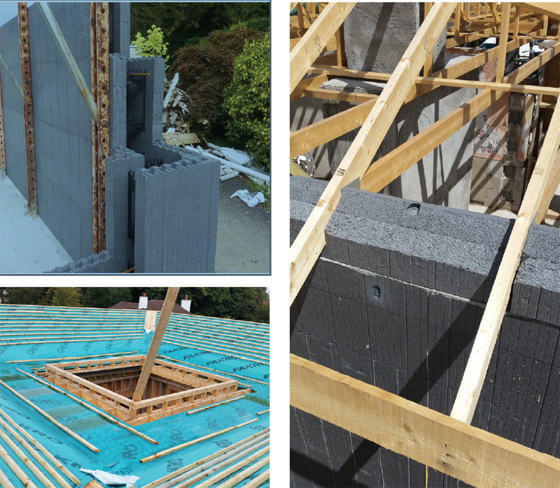 (Top left) the extension was built from insulated concrete formwork, which Walsh chose because this method is inherently free of thermal bridges; (bottom left) construction of the new atrium roof; (right) the house's new sloped timber roof, with continuity of EPS insulation above the ICF walls