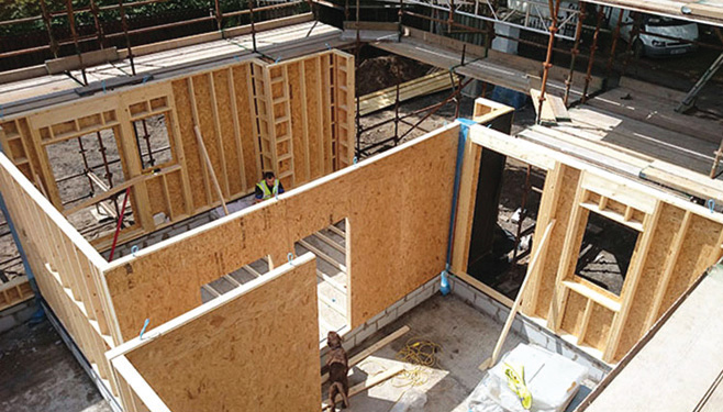 The timber frame features 140mm deep stud work insulated with Knauf Earthwool