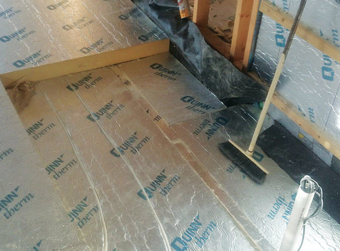 The ground floor is insulated with 370mm of QuinnTherm PIR insulation