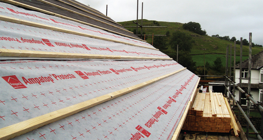 The roof features an Ampatop Protecta breather membrane outside the rafters to the timber structure
