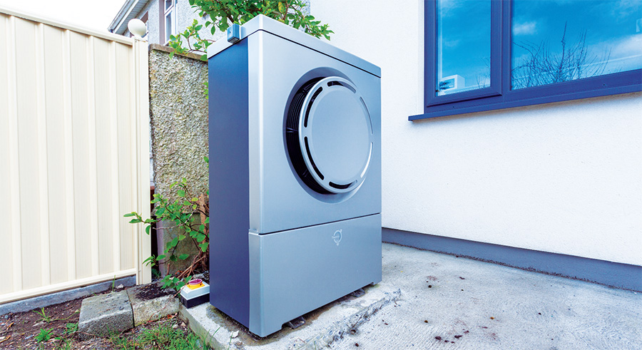 The outdoor unit of the Thermia air-towater heat pump system