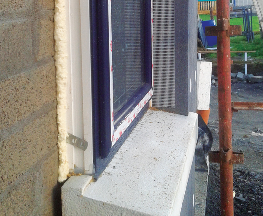 Thermal bridge free sills from Passive Sills with windows installed proud of blockwork;