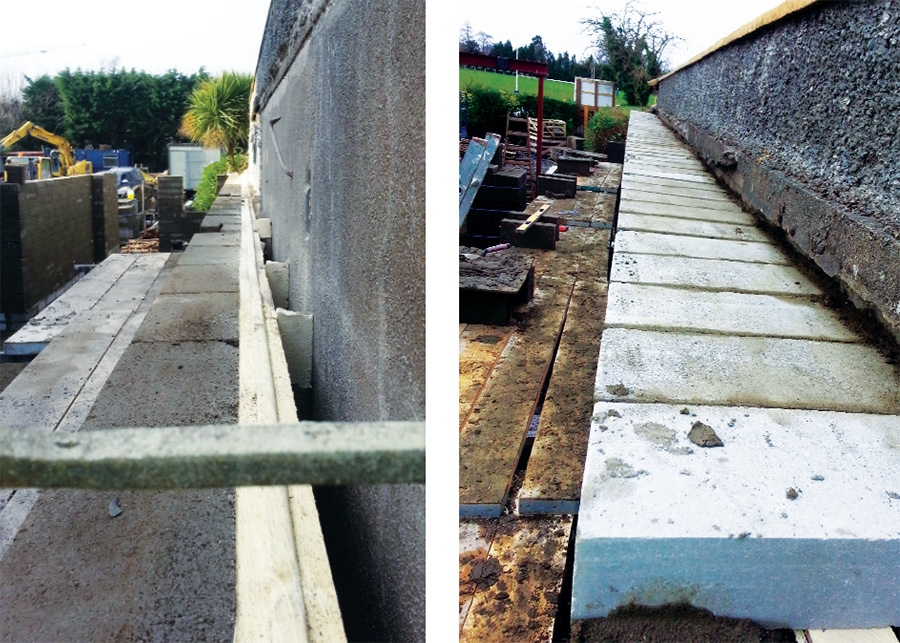 Partial fill board at boundary wall; Quinn Lite thermal blocks at eaves to reduce cold bridging