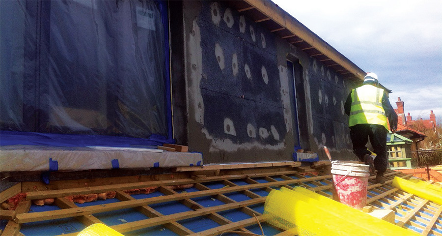 Installation of the Kore EPS external insulation