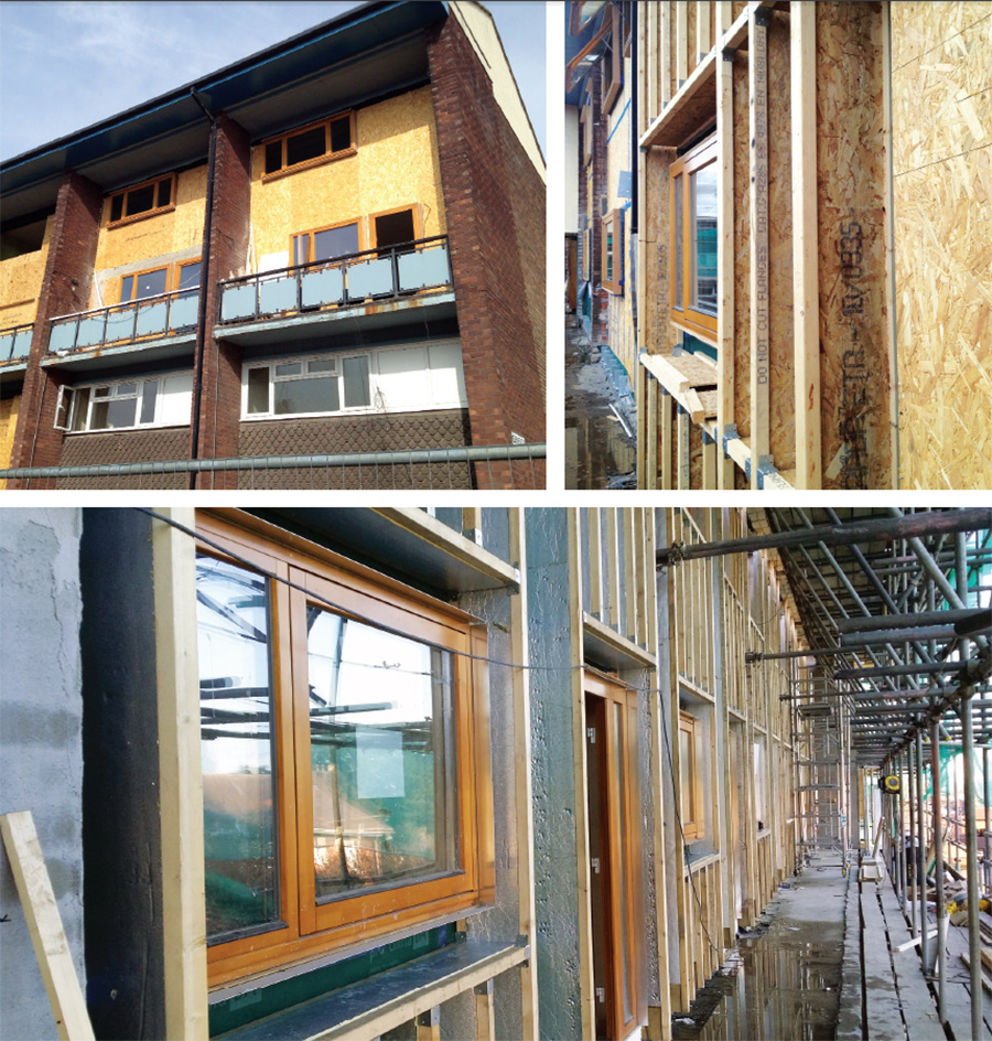 (Top left) New timber infill panels being installed; (top right) 300mm timber I-beams & Ecocontract windows; (above) rigid insulation installed in the I-beam webs