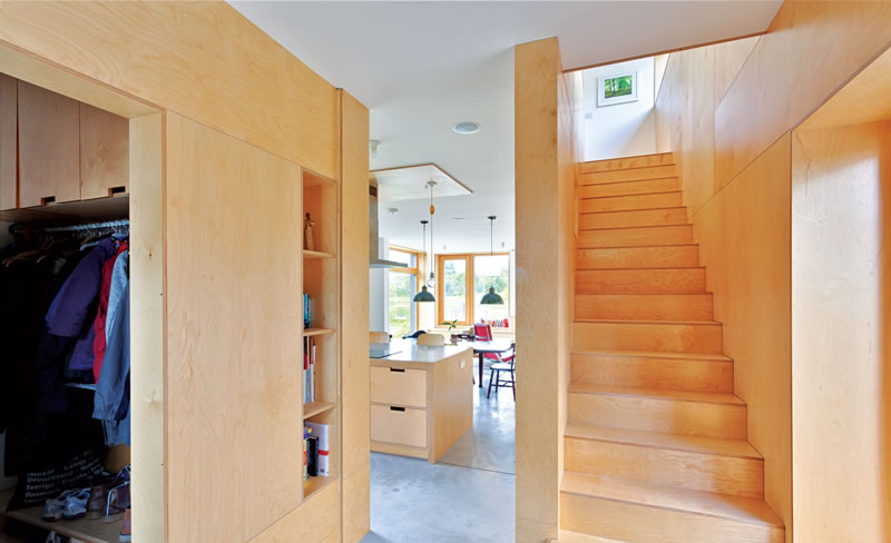 Birch plywood was used extensively in the interior for the stairs, kitchen and some walls