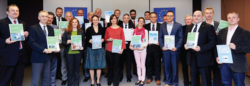 Presentation of Environmental Product Declaration certificates to a number of prominent European construction product manufacturers at an October 2014 Eco Platform event