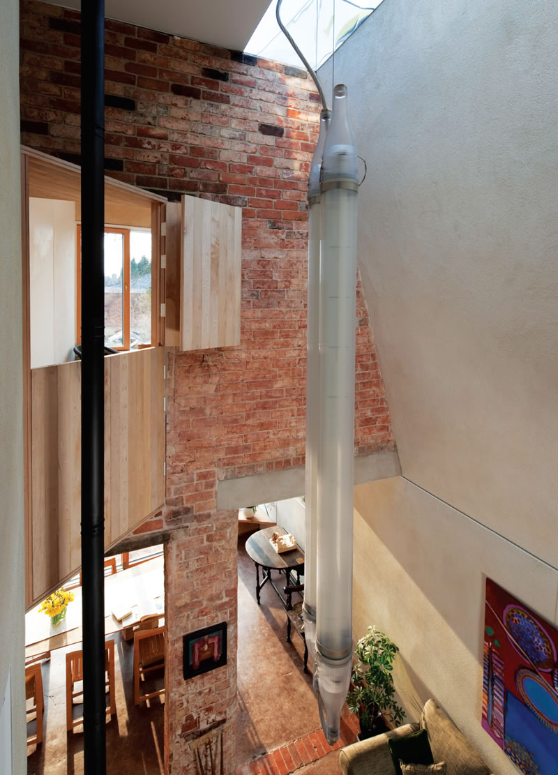 A roof light helps to illuminate the double-height living areaA UKs greenest retrofit 02