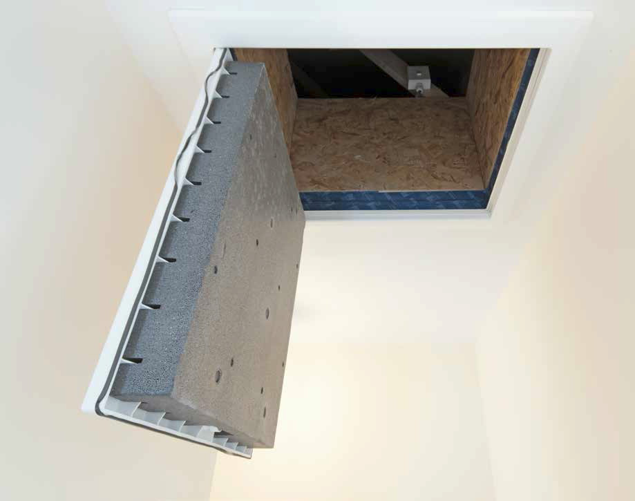 An airtight, insulated attic hatch which seals the hatch frame to greatly improve airtightness and thermal performance