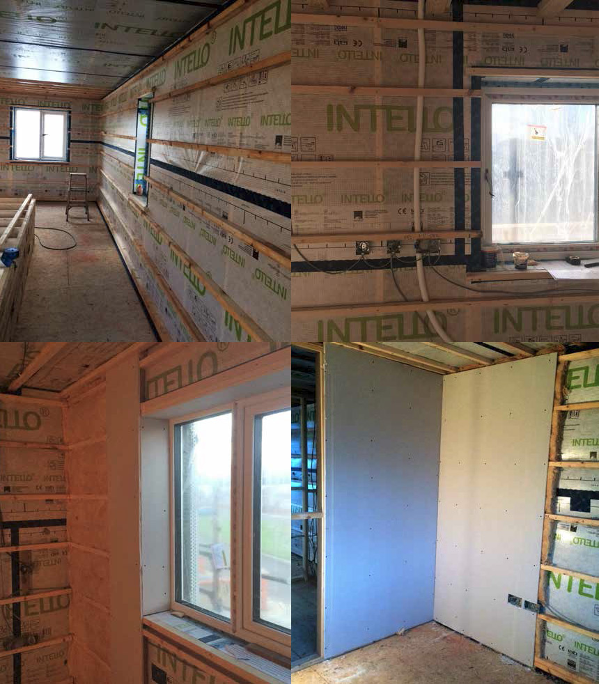 Stages of the wall build-up showing Intello airtightness membrane, with services behind battens, and 50mm thick service void insulated with Isover Metac insulation provided to inner leaf prior to Gyproc plasterboard