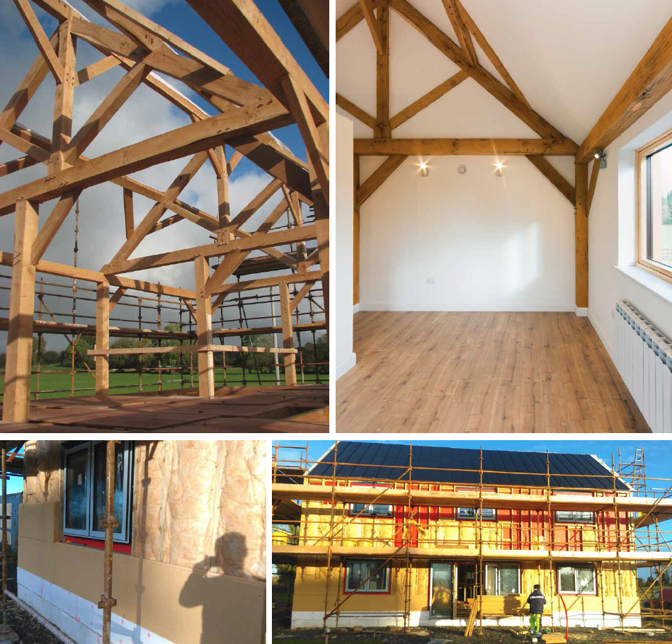 (clockwise from left) The building's oak frame under construction and exposed in the finished home; the make-up of the external walls thermal layers coming together with structural insulated panels, studded out externally to include 100mm of Metac; beneath 80mm Gutex wood-fibre boards