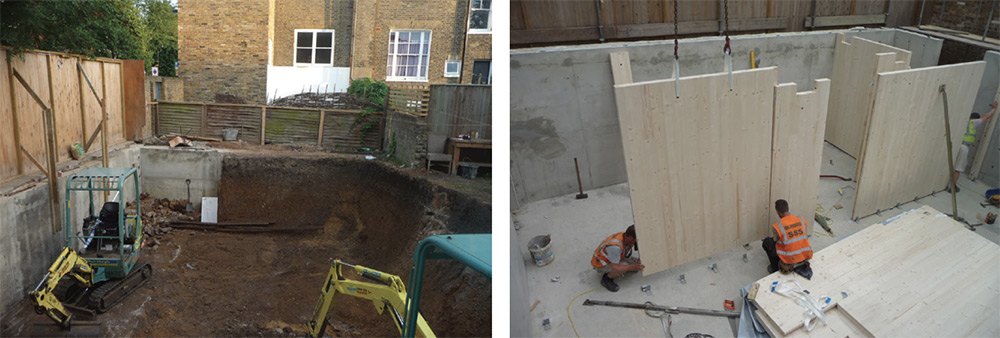 (Left) Excavation works were carried out and a retaining wall constructed as local planning rules required the house to be set half a level down from the street; (right) while the lower level is built in reinforced concrete, the cross-laminated timber panels are also used for partition walls