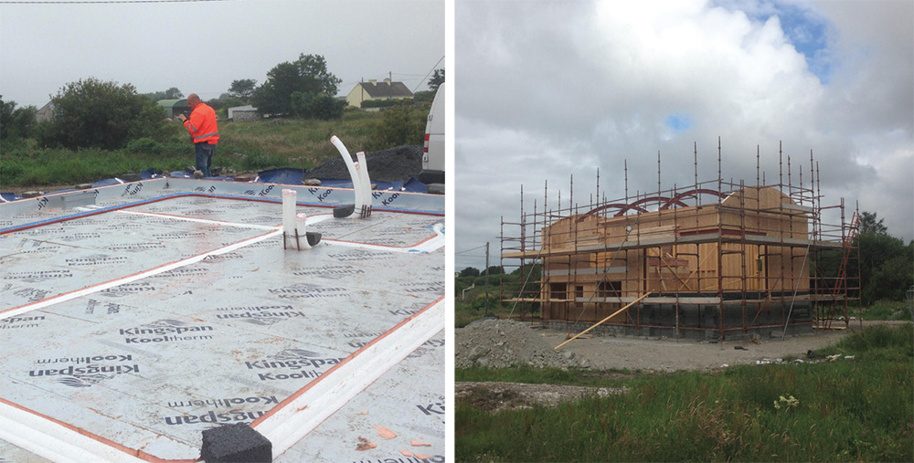 (Left) the lower ground floor features 200mm Kingspan K3 insulation – including channels cut into the top of the insulation layer to house the MVHR ductwork – with 70mm K3 insulation upstand to edges, (right) The timber frame was built by local manufacturer Irish Eco Homes and was erected in just five days