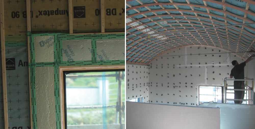 (Left) Airtightness taping around windows and over edges of PIR insulation; (right) Ampatex airtightness membranes were installed in the walls and roof