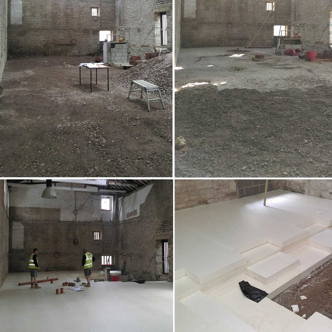 The decision was taken to change the floor levels and install an insulated slab, which would also help to thermally isolate the new three storey load bearing structure from the ground and walls. 230mm of Hexatherm XPS insulation was installed to deliver a U-value of 0.094