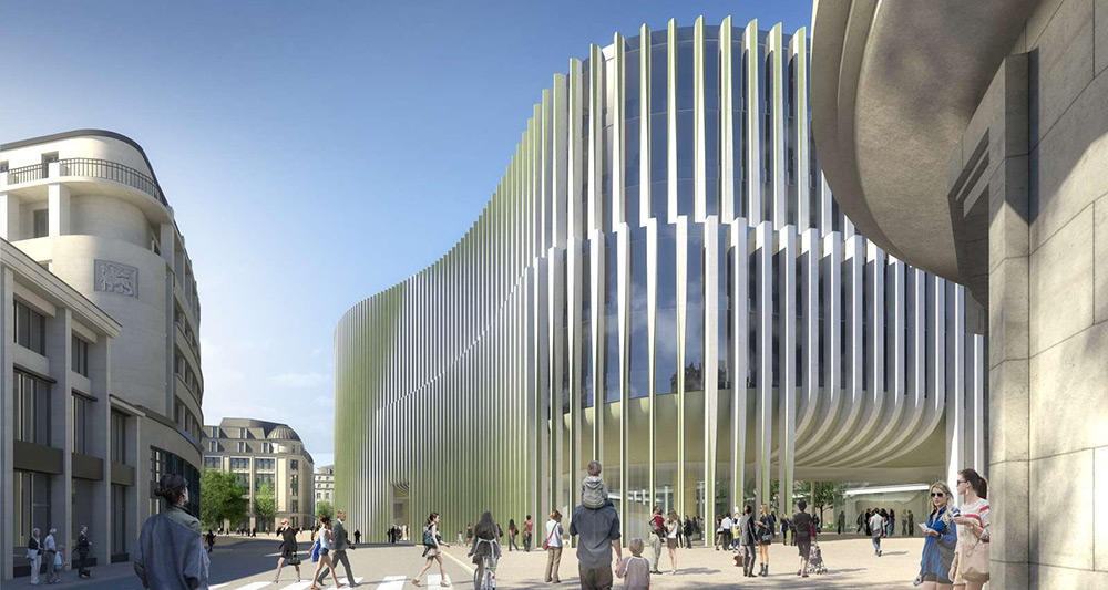 An illustration of Baumschlager Eberle's new passive HQ design for BNP Paribas