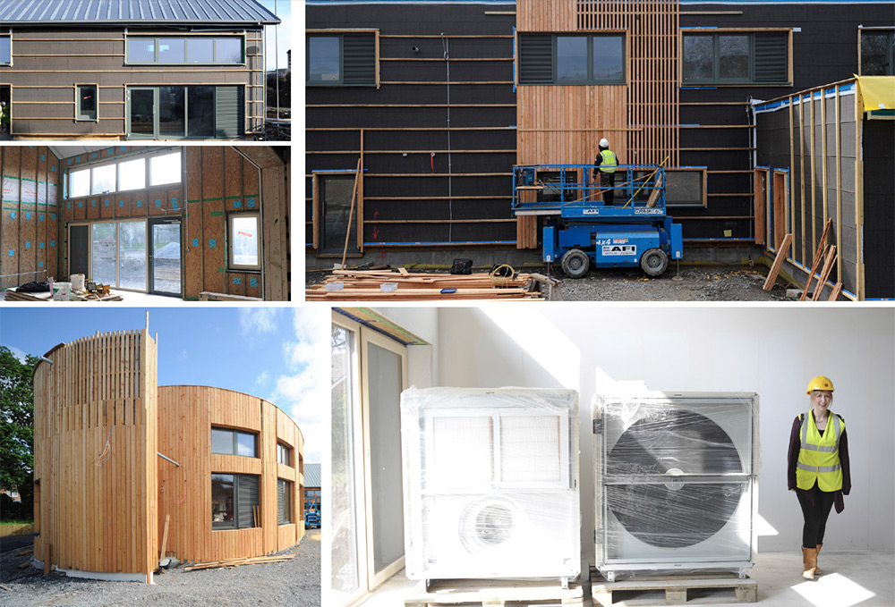clockwise from top left) The main timber frame KS2 building at Burry Port, seen here with Hunton Sarket T&G sheathing board; before larch cladding was installed over the timber battens; Swegon Gold MVHR ystem delivered to site with architect Hannah Dixon from Architype; the curved walls of the brettstapel pod building; the stapled and sealed 18mm OSB on the inside forms the airtightness layer.