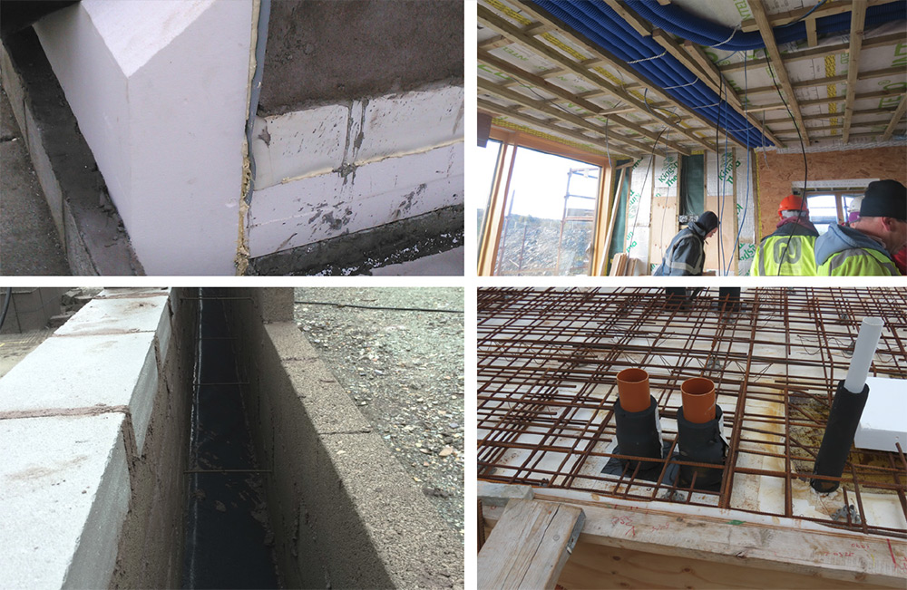(clockwise, from left) Slab penetration detail with insulation around pipes; wall section showing Quinn Lite blocks and 250mm cavity with TeploTies to minimise thermal bridging; insulation detail at footing to prevent thermal bridging; roof service cavity with ducting, Nilair ducting housed in a service cavity inside the airtight layer; roof build-up features 120mm Xtratherm Thin-R XT insulation over vapour control layer.