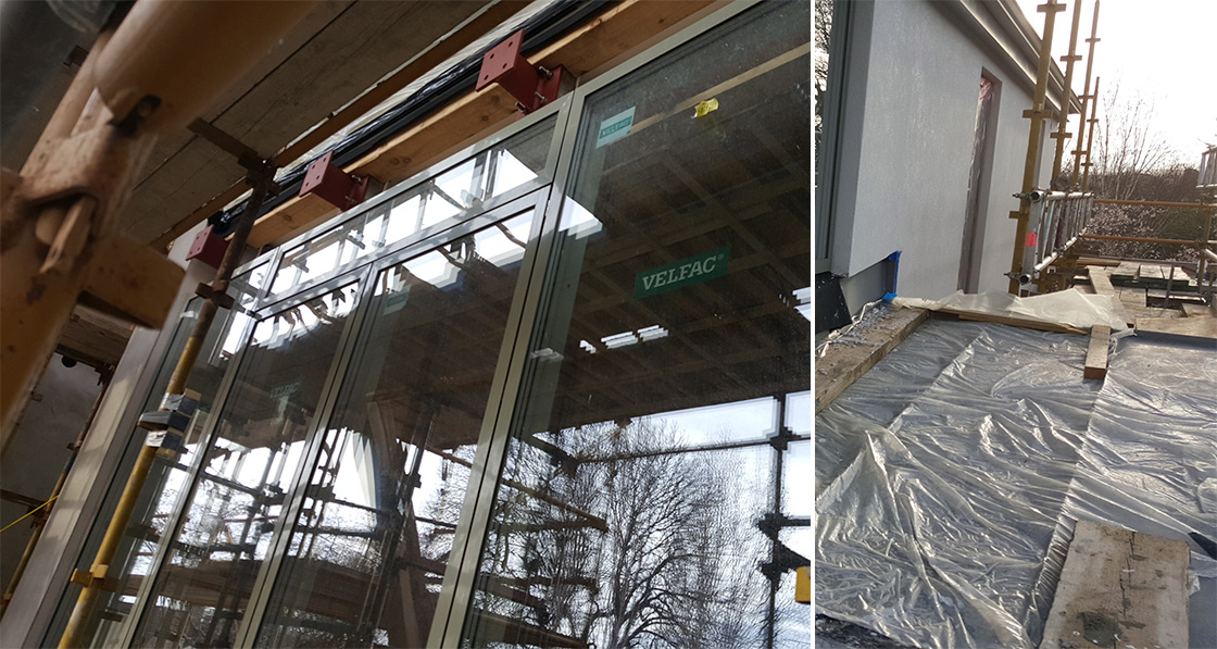 Installation of Velfac windows, while Schöck Isokorb connectors used where the balcony meets the external wall to minimise thermal bridging; Compacfoam sole plate under EPDM membrane supporting window cill in external insulation layer, to prevent thermal bridging