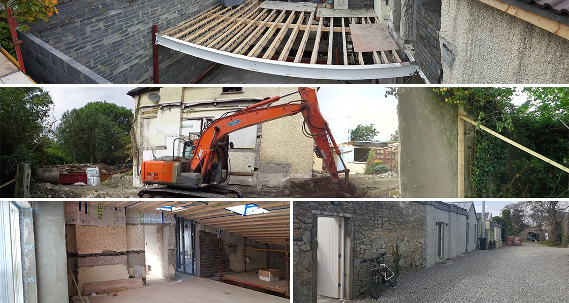 (above, clockwise from top) metal web Posi joists to intermediate floor of new extension; site works after demolition of an earlier extension; existing walls at lane to the read of the house, with the pebble dash wall in the middle forming of the building's thermal envelope; Intello membranes and airtightness detailing where the new roof meets the existing external wall.
