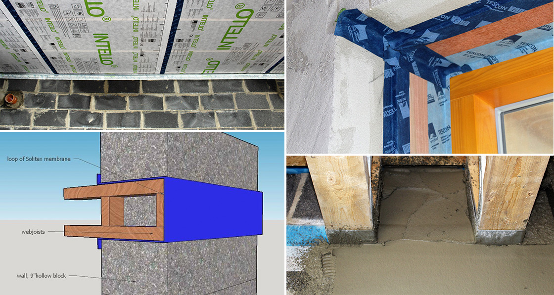(Clockwise from top left) Pro Clima Intello membrane fitted to the underside of ceiling rafter; careful taping at window reveals; webjoists are wrapped in membrane for an airtight loop, membrane taped back to the wall with Solido plasterable tape and for extra safety, the plasterer plastered over as much surface as possible – even between webjoists and over the membrane.