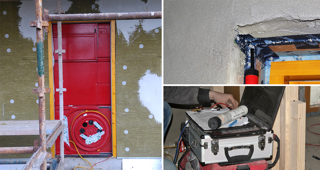 A blower door test was carried out by Building Envelope Technologies to measure the air leakages in the building; with smoke pencils used to identify localised leakage