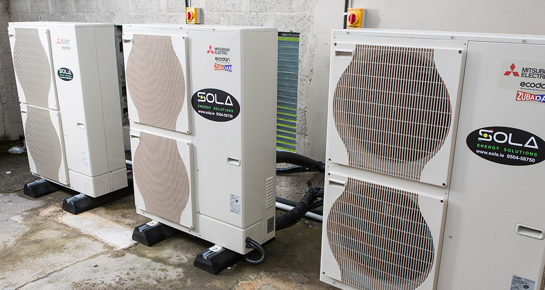 Three air to water heat pumps