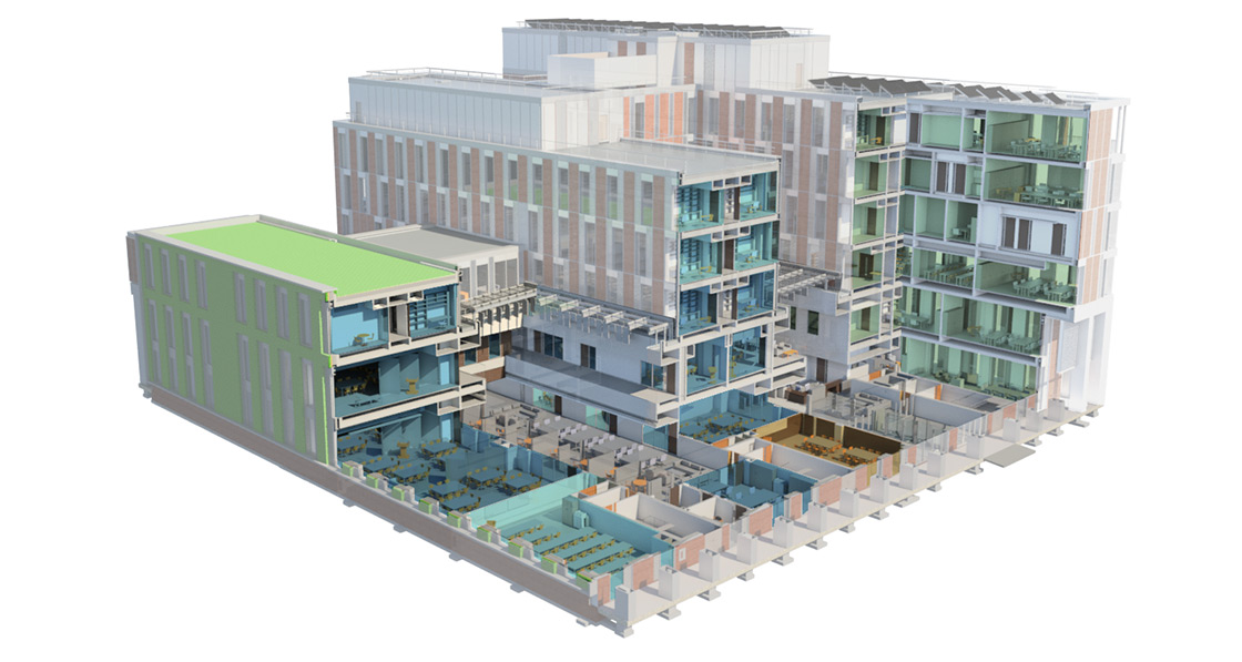 Cut-away computer-generated model showing the building's structure and interior