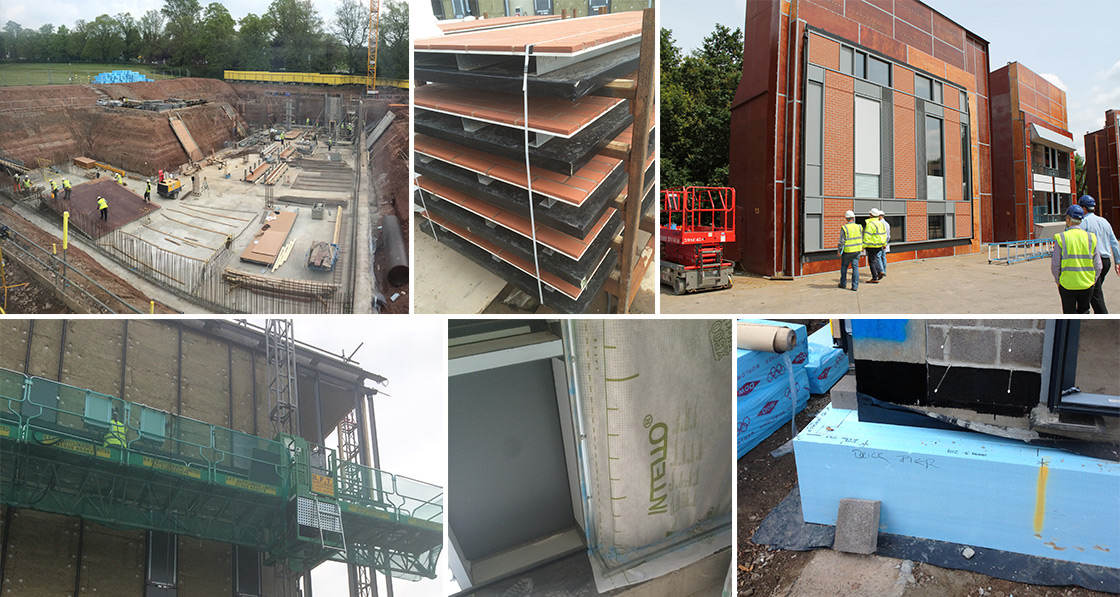(clockwise from top left) excavation of the site for the installation of the reinforced ground-bearing concrete slab; composite panels clad with a brick finish, with a 300mm cavity inside that was later insulated with Knauf Earthwool; facade mock-up panels at the facade engineer Wintech's testing yard in Telford, built to test the buildability of the systems and iron out details like blind integration and airtightness; thermal bridge-free detailing, with masonry walls resting on thermal insulation; airtightness detailing with Pro Clima Intello vapour membranes; Rockwool mineral wool insulation batts fixed externally on the upper floors