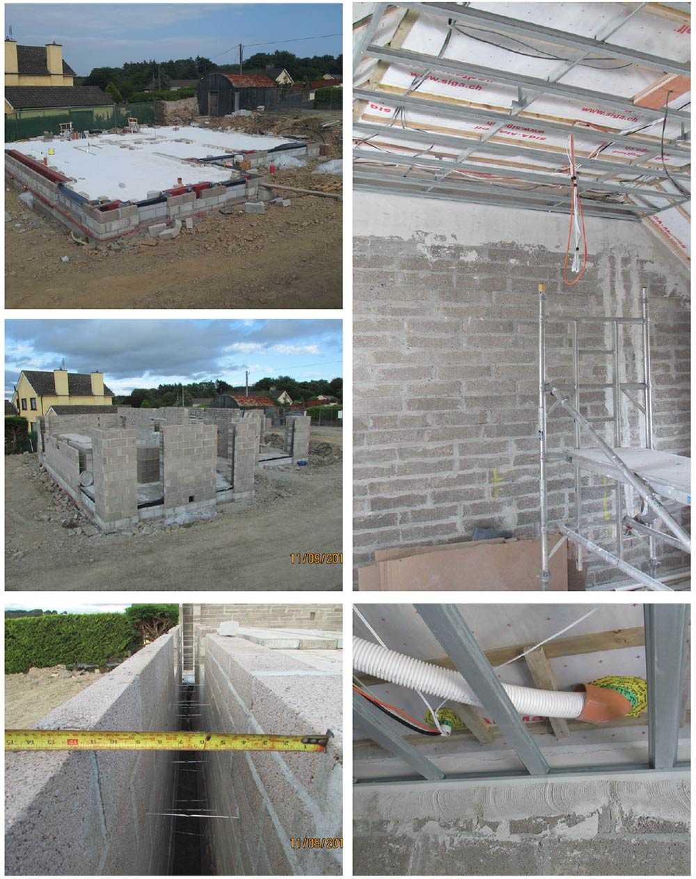 (anti clockwise from top left) the ground floor is insulated with 300mm of Xtratherm Hytherm expanded polystyrene insulation; construction of the cavity-wall ground floor, with two rows of Quinn Lite low thermal conductivity lightweight concrete blocks at the wall-floor junction; the ultra-wide 300mm wall cavity, which was fully insulated with Envirobead; a suspended ceiling system to house building services inside the Siga airtight layer; MVHR ducting in the roof, with airtightness taping where the ducting penetrates the airtightness layer.
