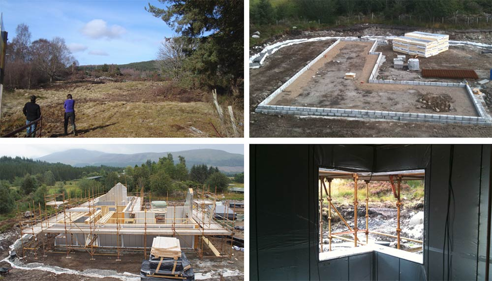 (Clockwise from top left) the plot just outside the hamlet of Gorstan is a former crofting site, and sloping rock and a high water table both proved a challenge here; aerated foundation concrete blocks around the perimeter of the house at ground floor level; vapour control layer taped and sealed to OSB layer on the inside of the timber frame structure; construction of the timber-roof, with the external OSB layer seen here prior to the installation of the breathable roofing membrane and slate finish