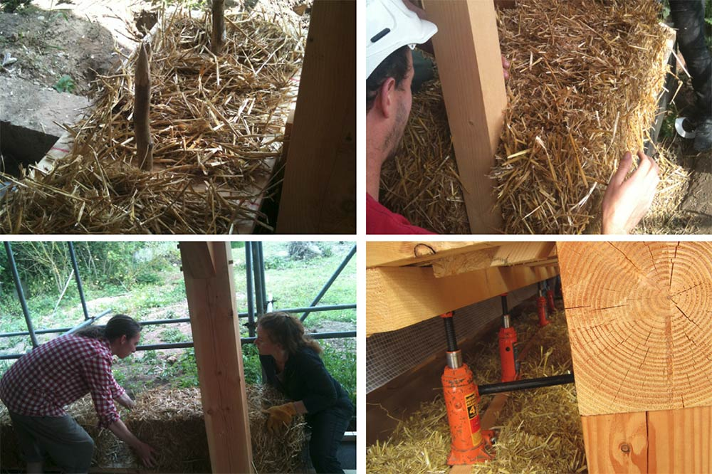(Clockwise from top left) 'starter' hazel pins at the base of the straw-bale walls; bales being notched into place around the timber-frame structure; the bales were compressed in place using a conventional car jack; the team laying the bales to construct the walls of the cottage.