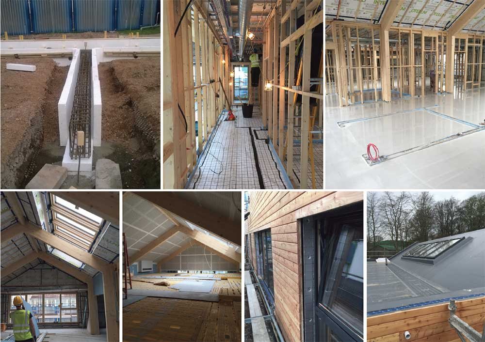 (clockwise from top left) Insulation detail at the concrete pile foundations; spiral MVHR ducting and Intello vapour control membrane visible here at ceiling level; 65mm self-levelling fl oor screed, the timber structure exposed to the inside of the nursery; Sarnafi l single ply roof membrane; larch timber cladding, Internorm aluclad windows and insulated reveals; Trad Safey Decking used to enable work on the double height ceiling; a series of Fakro quadruple-glazed roof windows, with U-value of 0.58, bring sunlight into the glulam-framed nursery space.