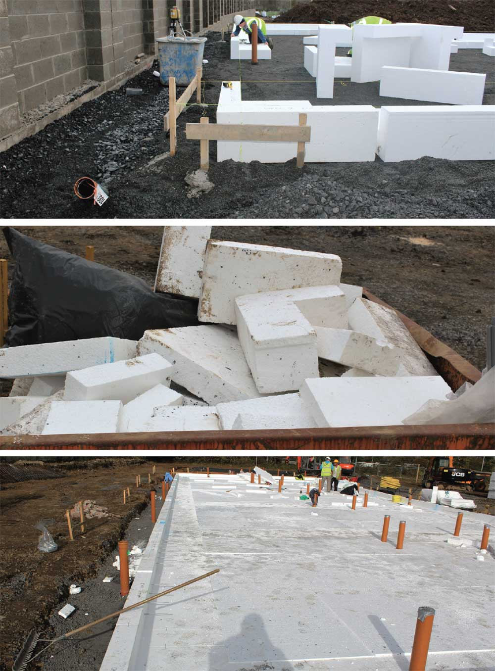 (Above, top to bottom) Installation of the Kore Passive Foundation system with EPS insulation beneath the slab and around the ring beam at the perimeter, eliminating thermal bridging through the ground floor, while minimising construction waste in the process – the off cuts shown here are from five houses.