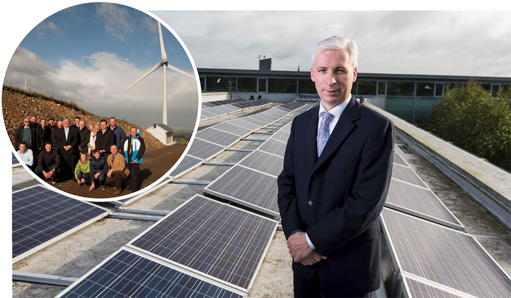 Some of the projects supported by the agency over the years including Templederry Community Wind Farm (left) and the 45kW solar PV array on the roof of the Tipperary County Council building in Nenagh (seen here with council CEO Joe McGrath)