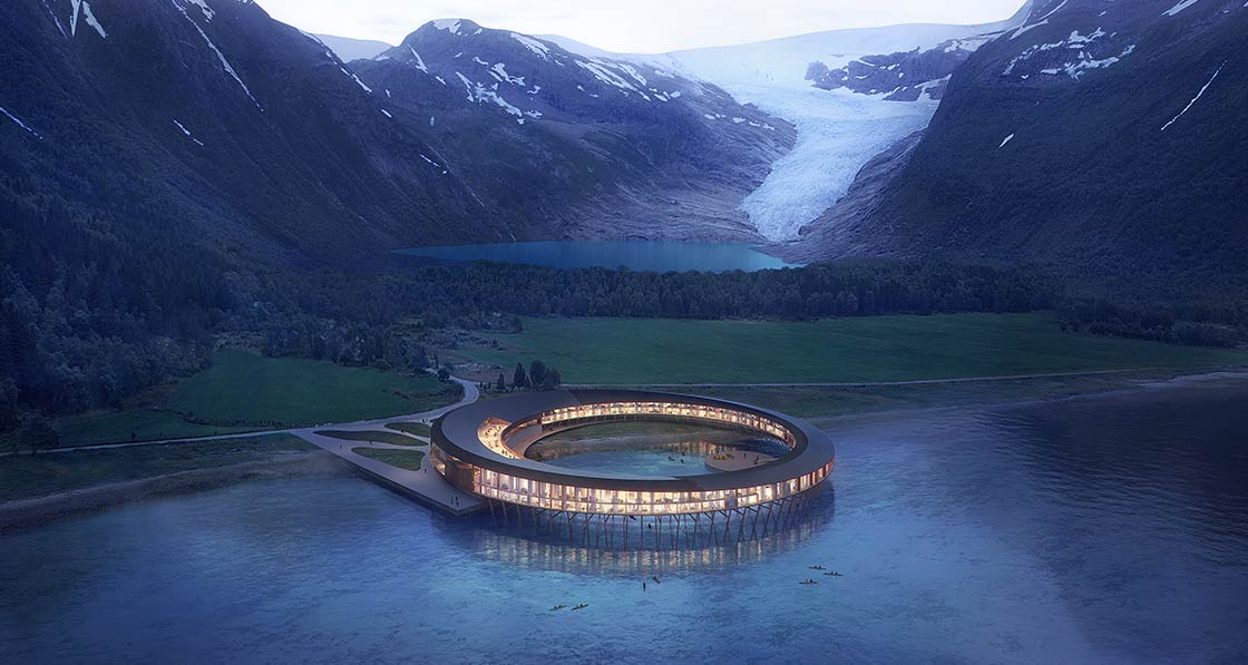 A rendering of the spectacular Powerhouse Svart, a hotel currently under construction in the north of Norway