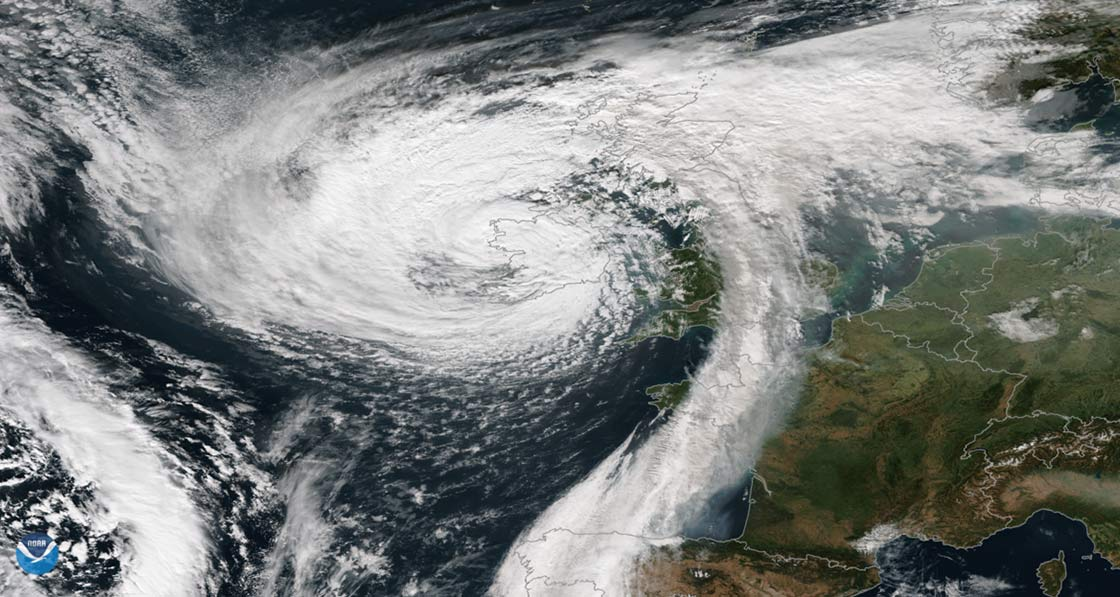 Storm Ophelia, the easternmost Atlantic major hurricane on record, moving over Ireland and the UK last winter