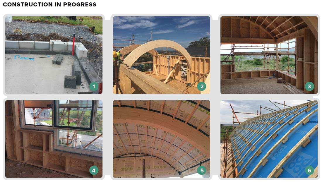 1 The ground floor of the new extension features 250mm graphite enhanced EPS insulation under the 85mm GGBS concrete screed, and two courses of Quinn Lite thermal block at the base of the walls to minimise thermal bridging; 2 the use of glue-laminated timber for some structural elements, including the curved timber beams for the barrel roof, helped to avoid the use of steel; 3 the timber frame, by Matthew O'Malley Timber, features studs that were later insulated with cellulose insulation; 4 the True Windows timber alu-clad triple-glazed windows were ordered from drawings rather than on-site measurements to speed up the build, requiring exacting attention to detail; 5 Intello vapour control membrane fitted to the underside of the barrel roof, with service cavity to be installed underneath; 6 the final parts of the roof build-up, prior to installing the zinc roof cladding, are 20mm softwood treated boards, followed below by a ventilated cavity and Icopal breather membrane.