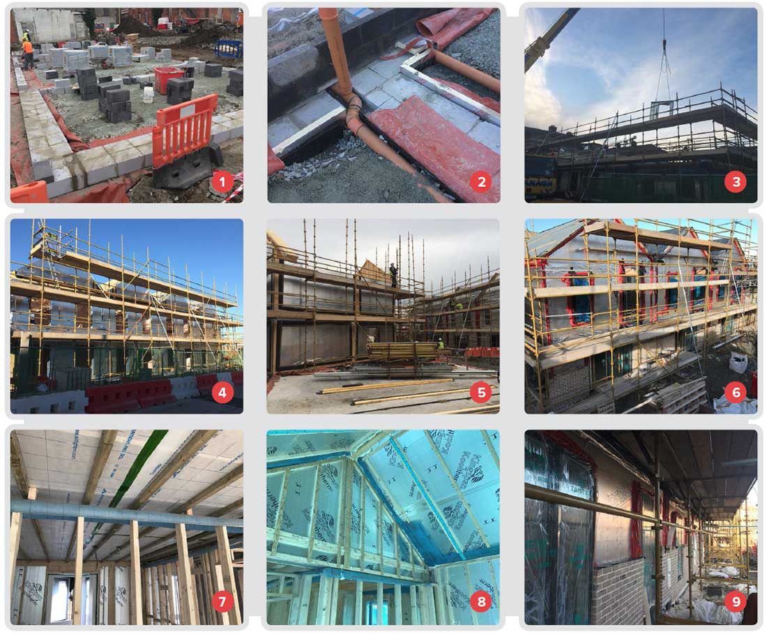 1 Two courses of Quinn Lite AAC blocks used in subfloors at perimeters and party walls to reduce thermal bridges; 2 the ground floor also features 150mm XT Xtratherm insulation and a radon control membrane; 3 panels being lifted into place for the timber frame structure; 4, 5 & 6 the Kingspan Century Ultima wall system takes only between three and four days to erect once it arrives onsite, and delivers high levels of thermal performance and airtightness; 7 Airtight Pro SCL membrane on the internal side of ceiling; 8 Kingspan PIR insulation to the inside of the roof construction; 9 windows & doors in place, and work begins on fitting the external brickwork over a Protect TF200 Thermo breather membrane.