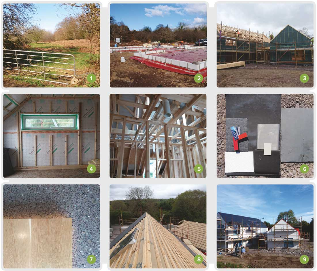 1 Site entrance view in April 2016; 2 the ground floor features a course of Quinn Lite B7 aircrete blocks to perimeter; 3 erection of the Cygnum timber frame structure almost complete; 4 Gerband SD2 Control airtight vapour barrier fitted to inner side of wall; 5 ductwork for the BEAM Axco heat recovery ventilation system; 6 palette of materials and finishes used on the project; 7 oak stair tread with the polished concrete floor underneath; 8 natural slates being installed on the roof; 9 the house nearing completion.