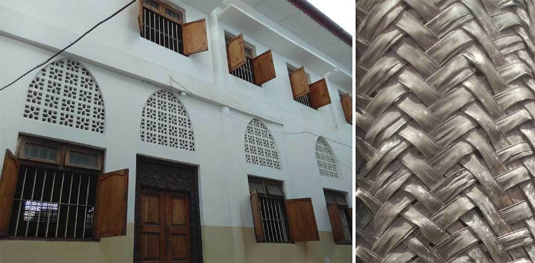 (left) A local architectural approach to shading and secure ventilation; (right) woven banana leaves, like coconut leaves, are one material used for shading and privacy