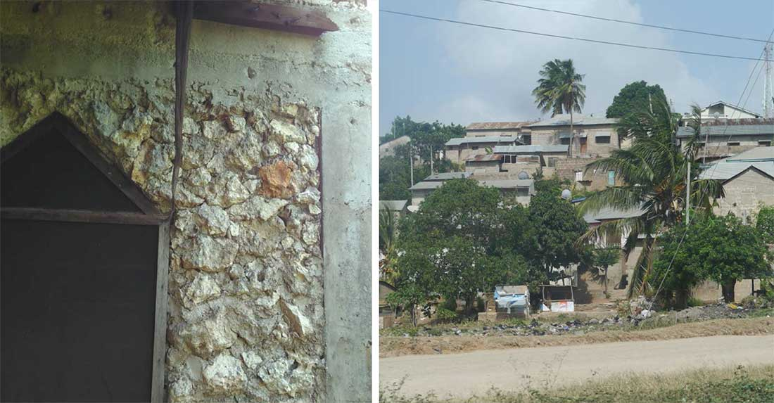 (left) group of concrete block and metal roofed homes on a local hillside; (right) recycled coral stone was used in the construction of this Tanzanian permaculture centre