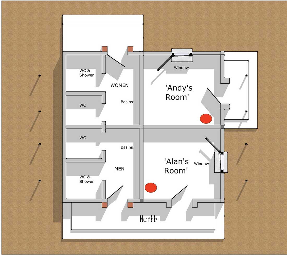 floor plan of the test unit, showing the bedrooms Alan and Andy stayed in during their 2018 visit.
