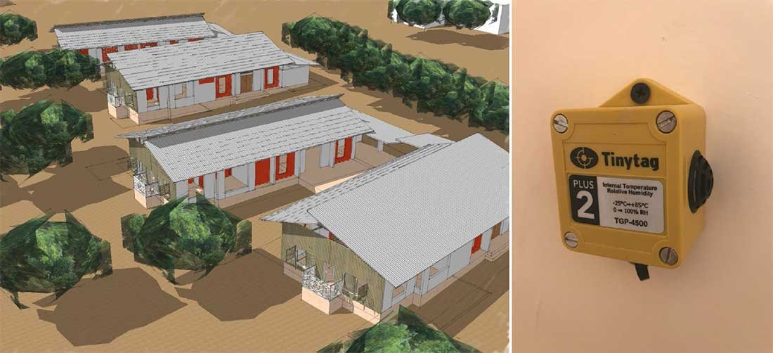 (above left) proposed design of four planned homes at the eco village; (right) one of the Tinytag sensors that the team is using to monitor temperature and humidity in various parts of the buildings.