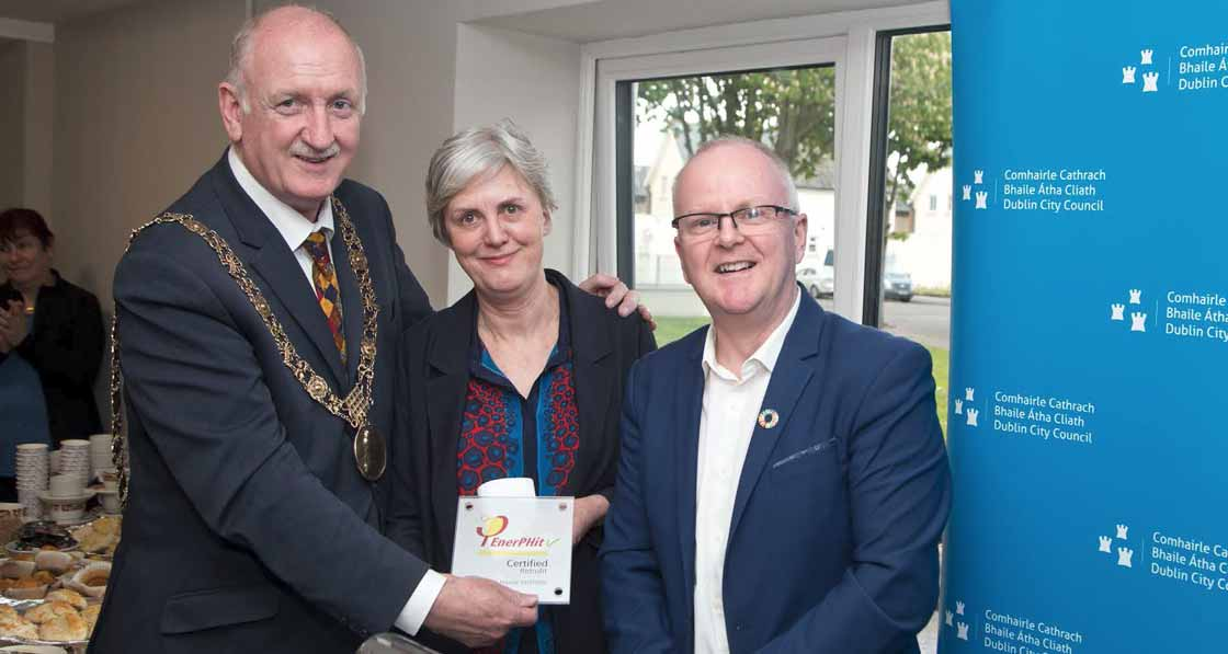 Lord Mayor of Dublin Nial Ring (left) with Dublin City Architect Ali Grehan (centre) and Tomás O'Leary (right) of the Passive House Academy