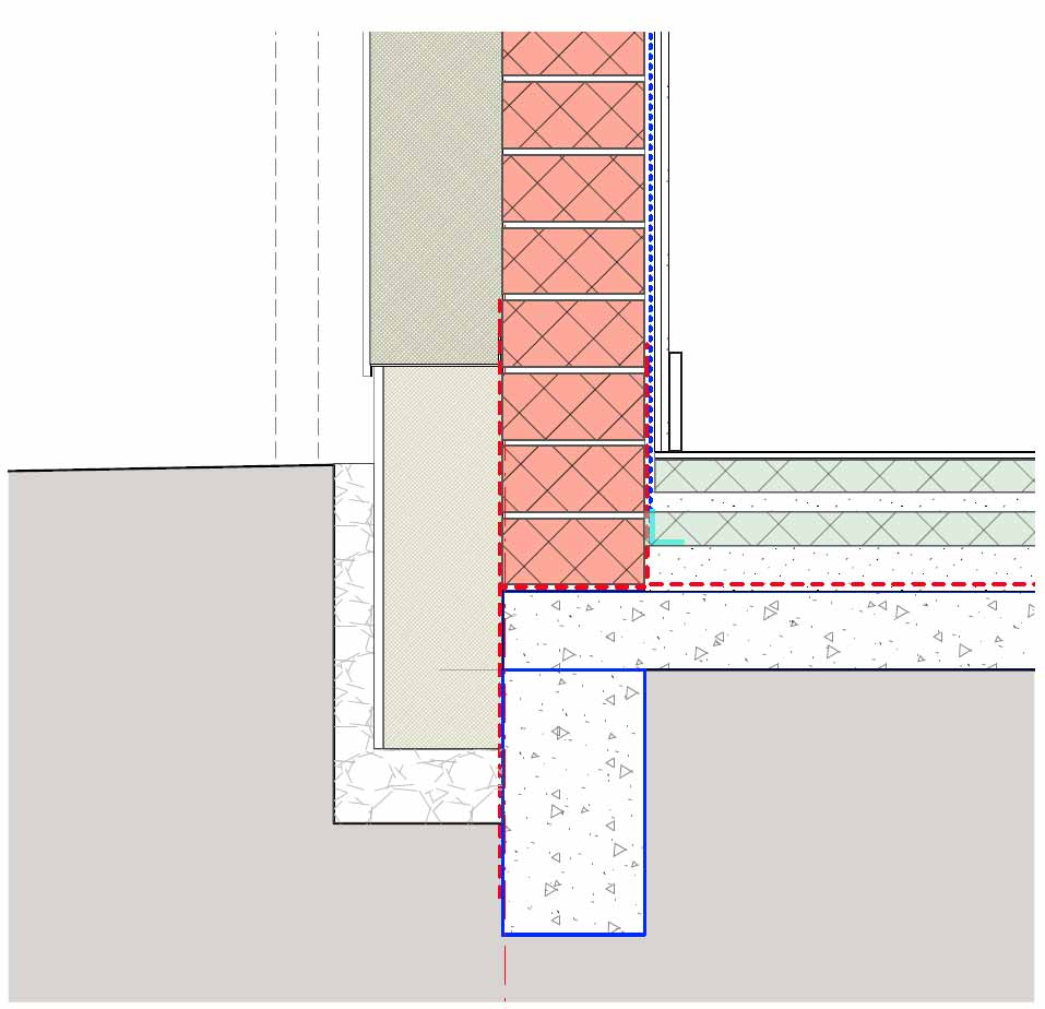 Drawing of the wall-to-the floor junction, with the broken red line marking the airtightness layer