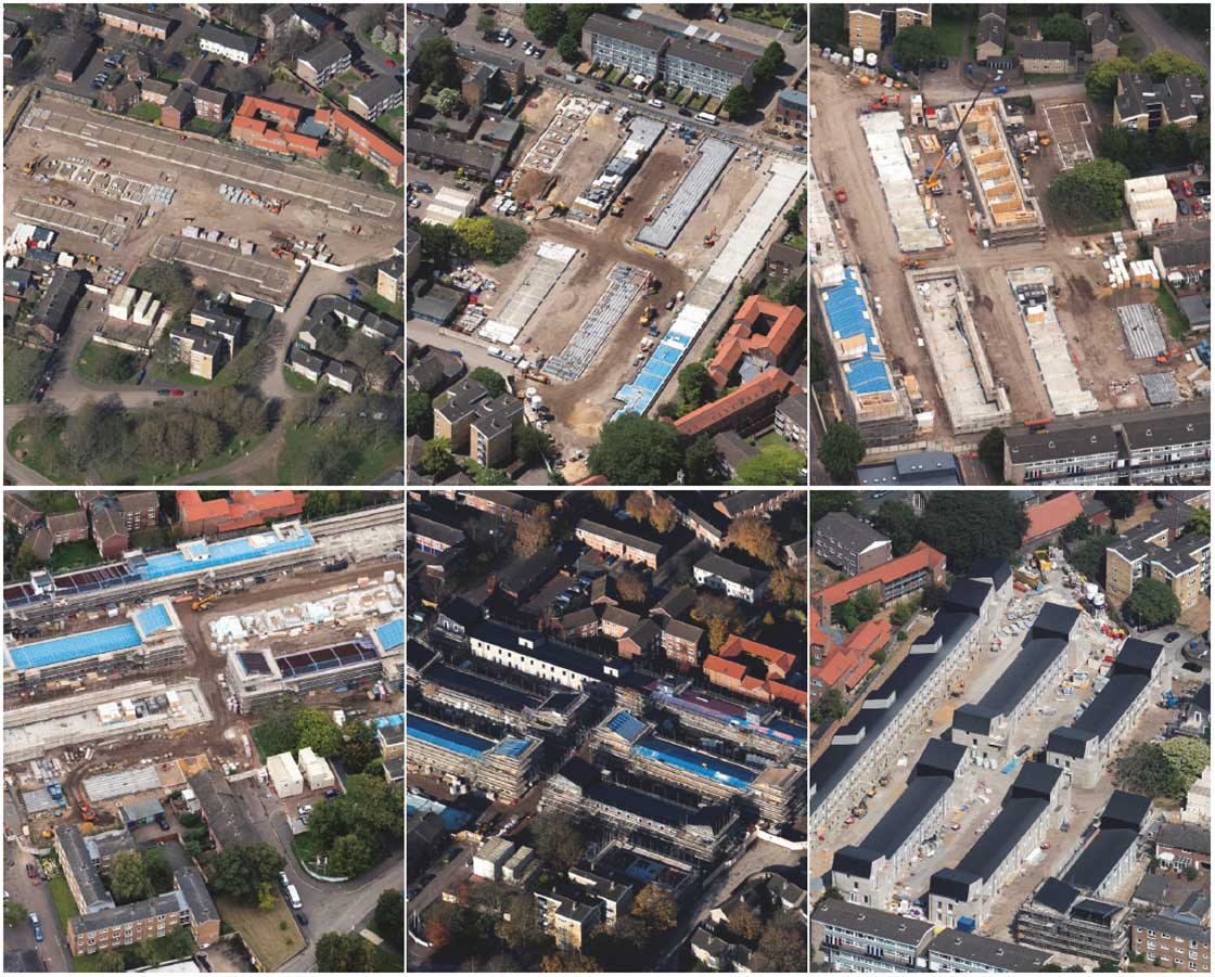 (above) Drone shots of the site on the west side of Norwich city, showing progress from the beginning of works to the completion of the build.